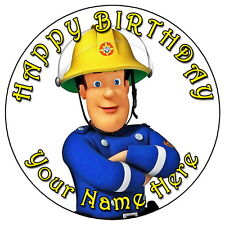 "FIREMAN SAM - 7.5"" PERSONALISED ROUND EDIBLE ICING CAKE TOPPER"