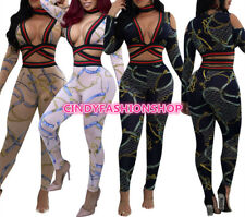 USA Women Sexy Deep V Neck Print Body Suit Long Sleeve 2 Piece  Jumpsuit Rompers