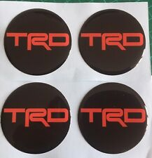 TOYOTA TRD ALLOY WHEEL CENTRE CAP DOMED STICKERS X4  MR2 CELICA BLACK & RED 45mm