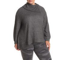Democracy Asymmetrical Split Neck Charcoal Knit Sweater Size 2X NWT