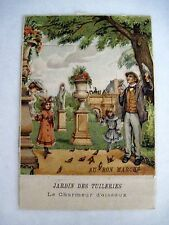 "Victorian Mechanical Trade Card for ""Au Bon Marche Paris"" - ""The Bird Charmer"" *"