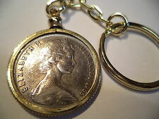 1966 Coin Set in a Brass Bezel With Screw Top Use as  Key Ring or Pendant