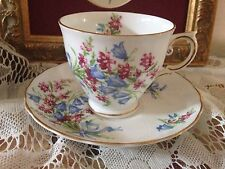Vintage Tuscan Fine English Bone China Bluebelle Floral Teacup & Saucer C8549K