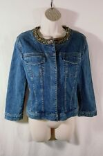 Tahari Medium Wash Denim Jean Jacket With Natural Colored Beaded Neckline Size S