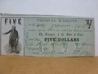 1862 $5. TEXAS Treasury Warrant for Military Service, Austin, TX