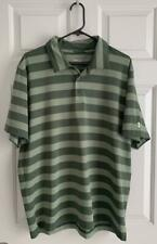 New listing Under Armour Men's Large HG Loose Fit Polo Green Striped Golf Shirt
