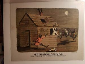 """Currier & Ives """" THE DARKTOWN ELOPEMENT """" (HURRY)"""