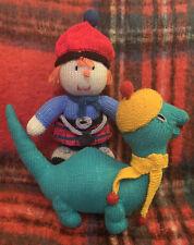 2 Scottish Hand Knitted Toys Nessie & Laddy Vintage & New Lochness Monster & Boy