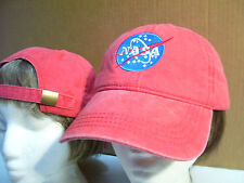 NEW! OTTO NASA Embroidered Washed/Worn Look Pigment Dyed Ball Cap Hat Red