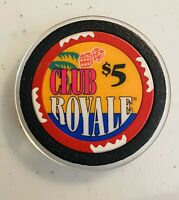 CLUB ROYALE  CRUISE SHIP, RARE $5 CASINO WET CHIP,  SUNK OFF FLORIDA