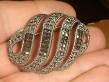 JUDITH JACK BROOCH pin STERLING SILVER MARCASITE HEMATITE NOUVEAU ART DECO 925