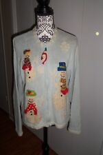 BellePointe Christmas Cardigan Light Blue & Snowmwn SZ Large  EUC Bargain Priced
