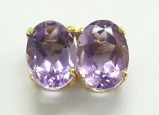SYJEWELRYEMPIRE 10KT SOLID YELLOW GOLD OVAL NATURAL AMETHYST STUD EARRINGS E811