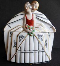 Rare, highly Art Deco lovers antique powder jar / trinket box / half doll rel.