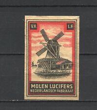 "Made in Holland ""Molen"" Windmill Old Vintage Matchbox Label"