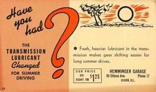 Transmission Lubricant, Hemminger Garage, Dixon, IL ca 1950s Vintage Postal Card