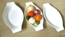 "premium ceramic plate platter white serving bake dish 3PC set 10"" x 5.5"""