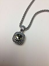 """PERIDOT GREEN SQUARE Crystal Stone DESIGNER INSPIRED  Silver Finish 18"""" NECKLACE"""