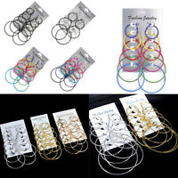 6 Pairs/Set Hoop Earrings Women Jewelry Circle Fashion Black White Charm Simple