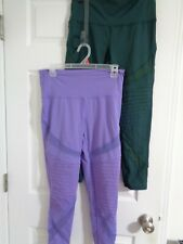 LOT 2 Aerie Play Chill Move Hi-Rise see throu legs Leggings Size L purple green