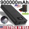 900000mah External 4USB Power Bank LED LCD Backup Huge Battery Charger for Phone