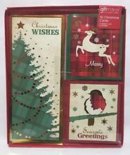 Pack Of 12 Christmas Cards & Envelopes 3 Designs Tree Robin Raindeer Xmas Card