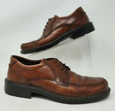 Ecco Mens EU Size 43 US 9  9.5 Brown Leather Derby Oxford Apron Round Toe Shoes