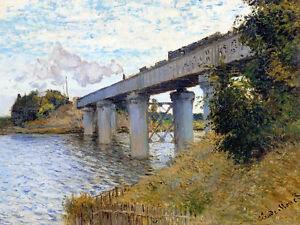 The Railroad bridge in Argenteuil by Claude Monet A1+ High Quality Art Print