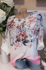 NUEVO Extra Grande Camiseta Túnica Vintage Flores lurex-kanten Blanco Rosa Batik