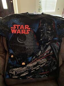 Vintage 90's Star Wars All Over Graphic Darth Vader Mens Delta Shirt Size L