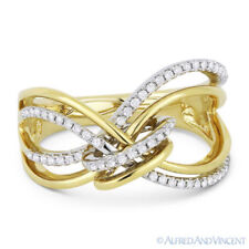 Knot Fashion Ring in 14k Yellow Gold 0.22 ct Round Cut Diamond Right-Hand Loop &