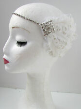 Feather Headband Headpiece 1920s Great Gatsby Flapper Silver Fancy Dress 30s Y36