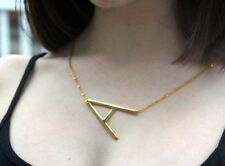 Large Letter Necklace Sideways Initial 18K Gold Plated SS Alphabet Personalized