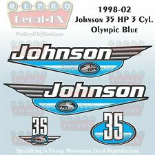 1998-02 Johnson 35 HP 3 Cyl Olympic Blue Outboard Reproduction 4 Pc Vinyl Decal
