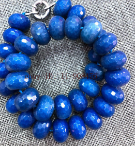 New 12x18mm Blue Sapphire Abacus Faceted Gemstone Necklace 18-25 inches