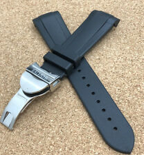 22MM RUBBER TUDOR WATCH STRAP BLACK MENS BAND BLACK BAY PINS INCLUDED