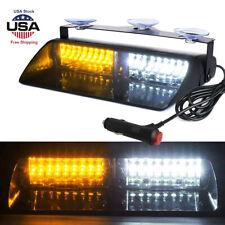 Car 16 LED Amber/ White Police Strobe Flash Light Dash Emergency Flashing Light