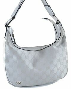 Authentic GUCCI Hand Bag GG Canvas Leather 263757 Silver D4377
