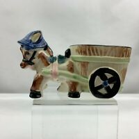 Vintage Donkey Pulling Cart Planter - Blue Hat - Made in Japan