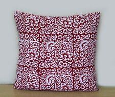 16x16 Indian Red & White Floral Hand Block Print Cushion Cover Pillow Case Cover