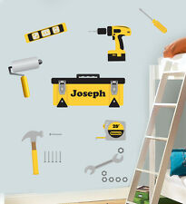 Childrens Personalised Toolbox Wall Art Stickers Bob Drill Hammer Tool Set