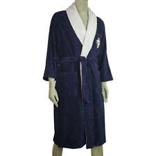 Hermes Blue & Lavender Soft Cotton Men's Bathrobe Dressing Gown w. Emblem