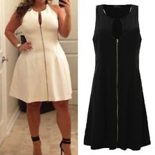 Women Summer Sleeveless Zip Up Evening Cocktail Fit Flare Plus Size Party Dress