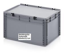 Stabiler Stapelbehälter mit Scharnierdeckel 60x40x33,5 cm Transport Boxen Kisten