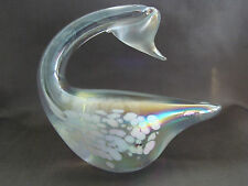 GLASS SWAN Rainbow Color Figurine Etching on Feathers Very Nice