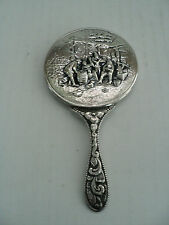 VINTAGE SMALL CHASED DANISH SILVER PLATED PURSE MIRROR