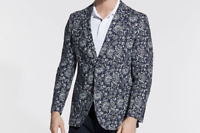 Nautica Men's Modern-Fit Linen Sport Coat 40S Navy/Marine Floral Print NEW