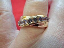 Tanzanite Midas Band Ringin 18K Yellow Gold over 925 Sterling-Size 8-1.05 Carats