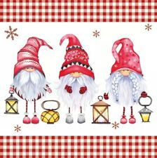 4 Lunch Paper Napkins for Decoupage, Table, Party, Craft, Scandinavian Gnomes