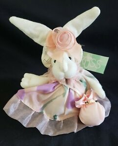 """Russ Berrie """"Rosette"""" Easter Bunny Spring Breeze, w/Hat and Crossbody Pouch"""